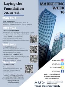 2018 Marketing Week Schedule