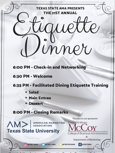 Marketing Week 2018 Etiquette Dinner