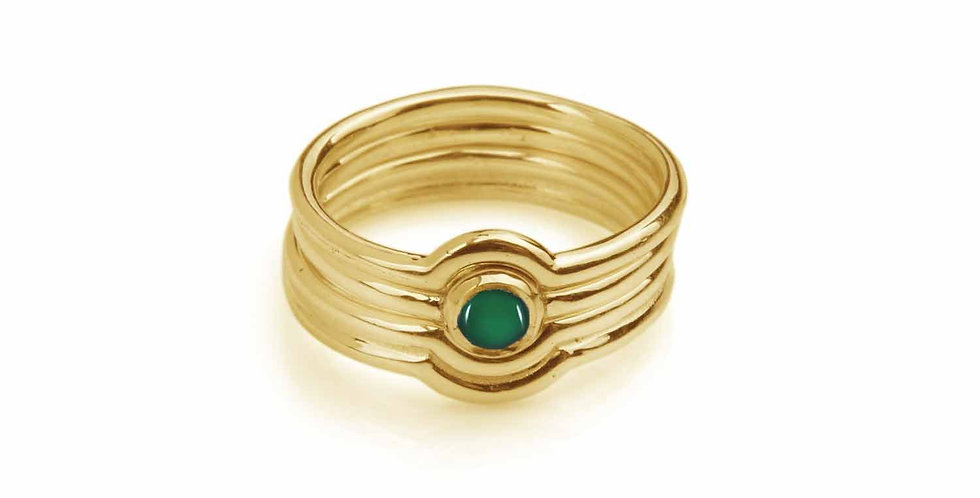 Rachel Entwistle Celestial gold & onyx stacking ring
