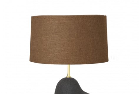 Hebe Small Black Lamp with Curry Shade