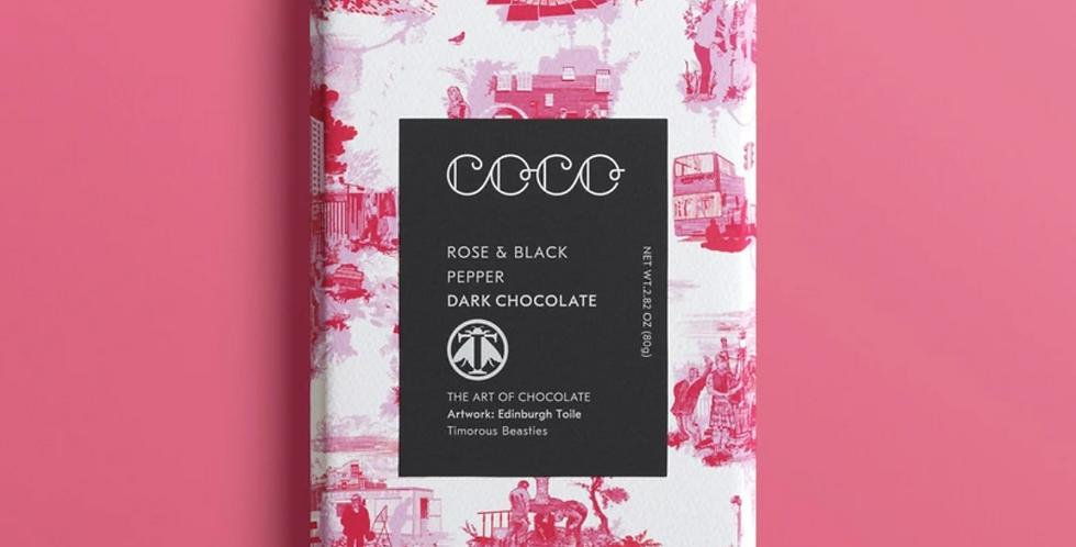 Coco Chocolatier Rose & Black Pepper Dark Chocolate 80g