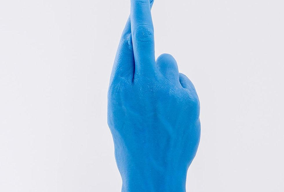 Candlehand Blue Cross Finger Candle