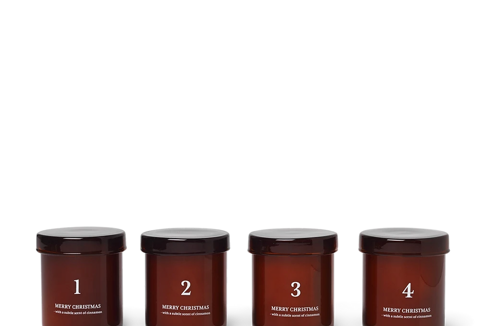 Ferm Living Set of 4 Red Advent Scented Candles