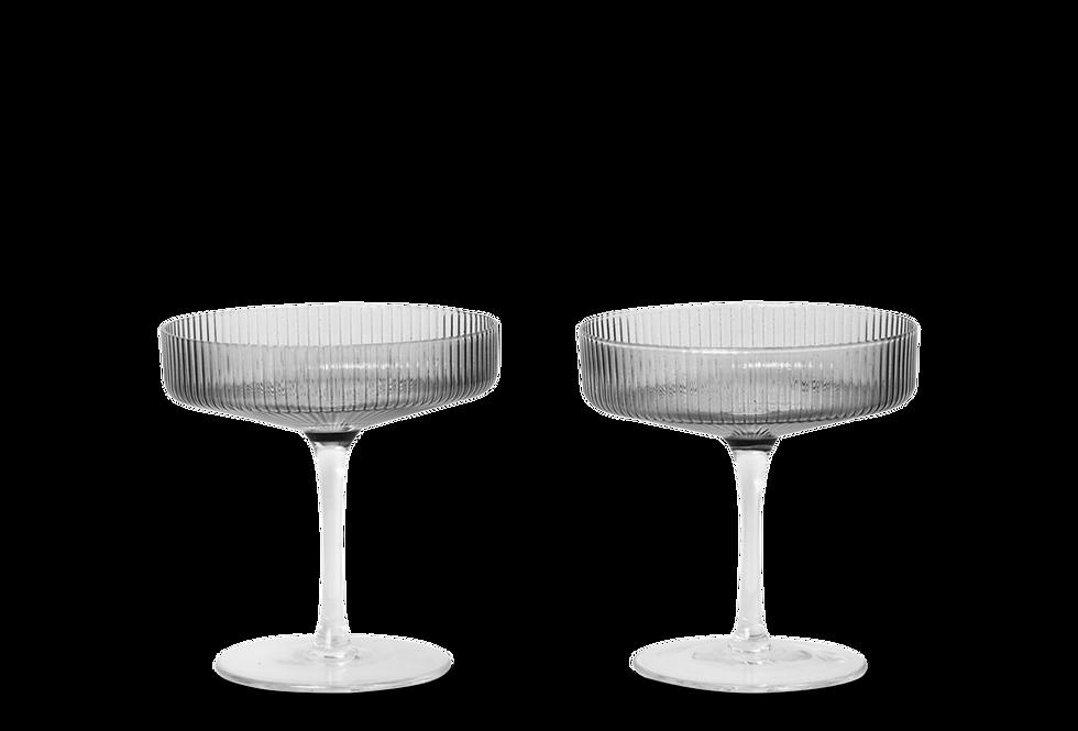 Ferm Living smoky grey Ripple champagne glasses (set of 2)