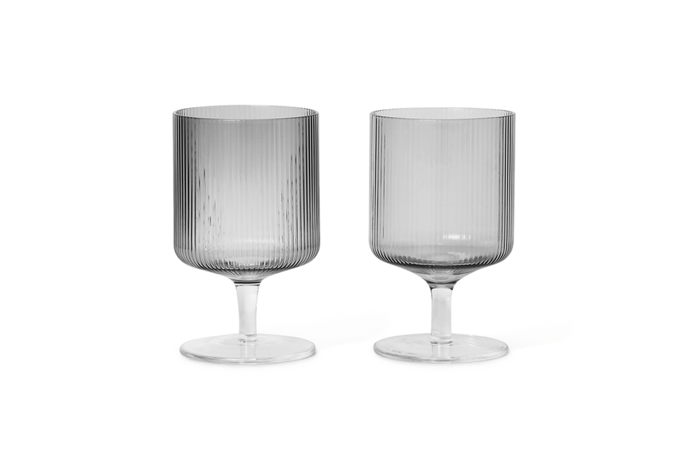 Ferm Living Ripple smoky grey wine glass