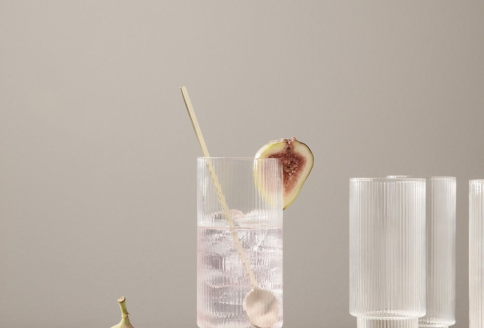Ferm Living clear Ripple long drink glass (set of 4)