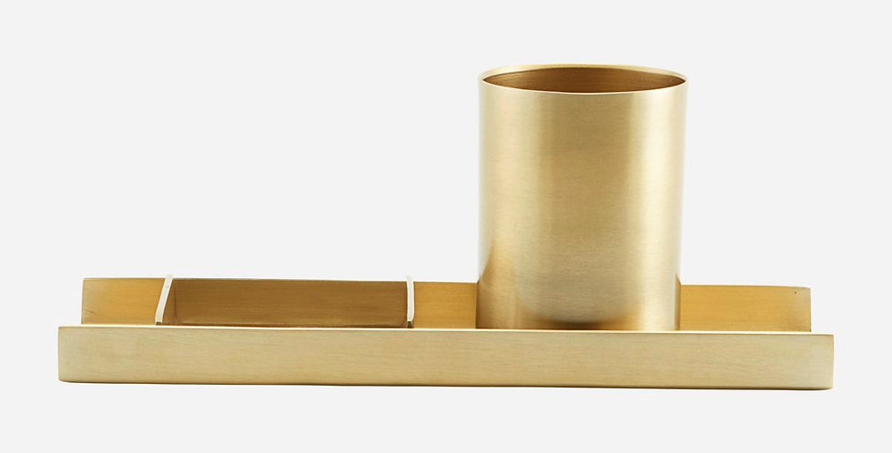Monograph Brass Stationary Organizer