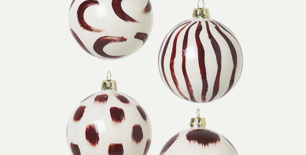 Ferm Living Christmas Hand Painted Glass Ornaments - Red Brown