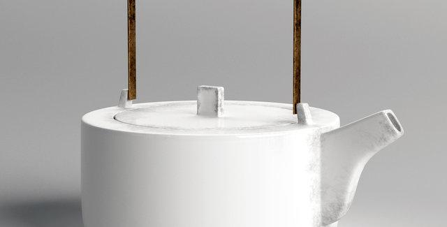 HK Living Kyoto ceramic white teapot
