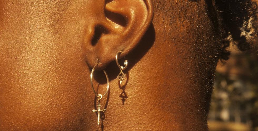 Rachel Entwistle silver cross hoop earrings