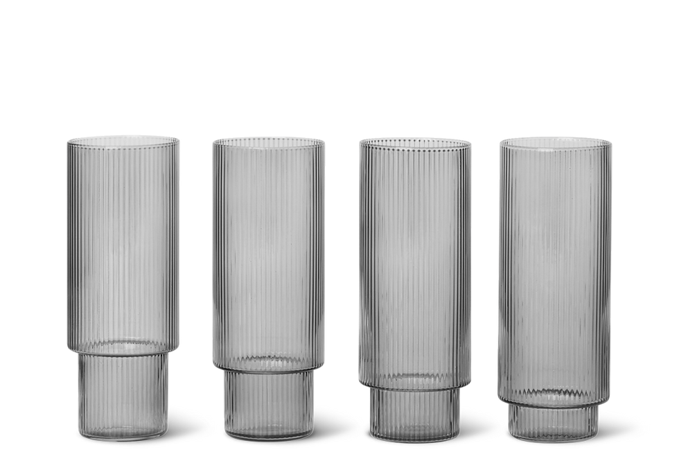 Ferm Living smoky grey Ripple long drink glass (set of 4)