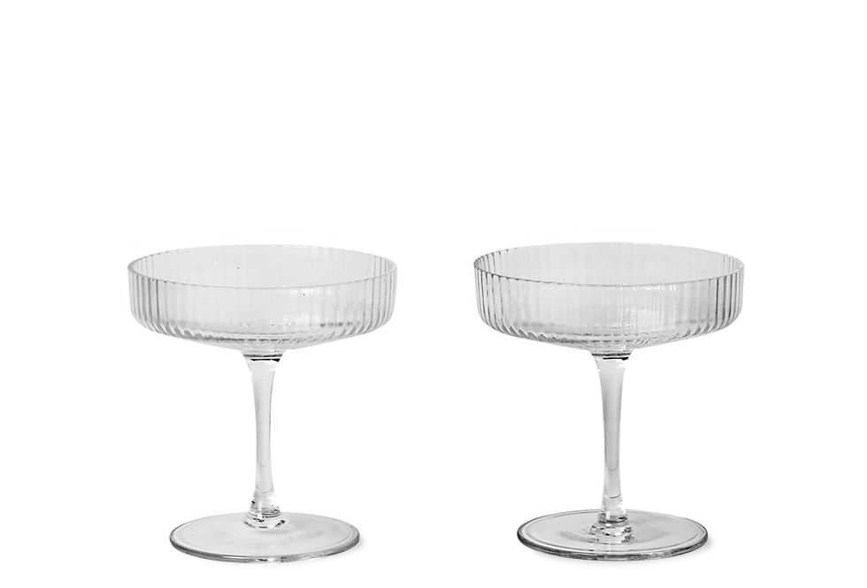 Ferm Living clear Ripple champagne glass (set of 2)