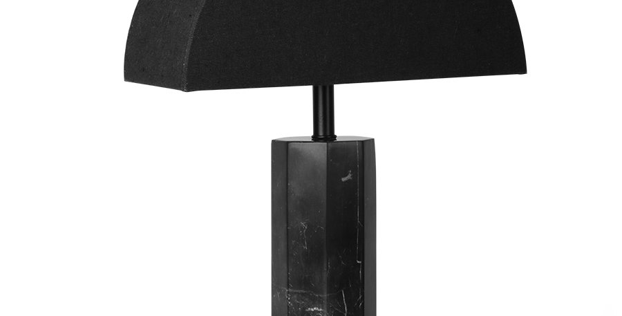 HK Living Black Marble Lamp & Black Jute Shade