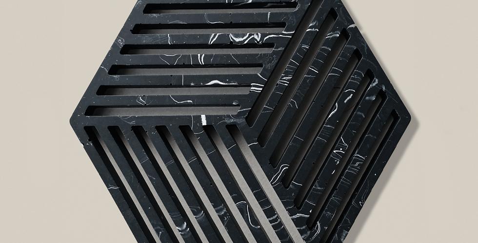 Marble Hexagon Trivet - Black