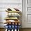 Thumbnail: HK Living Blue & Orange Striped Velvet Cushion