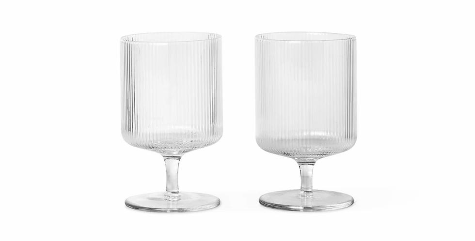 Ferm Living Ripple Wine Glasses - Clear
