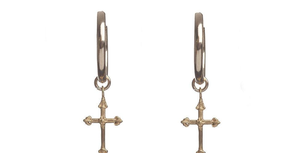 Rachel Entwistle Cross Hoop Earrings - Gold