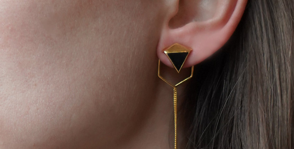 Rachel Entwistle Icosa Asymmetric Earrings Gold