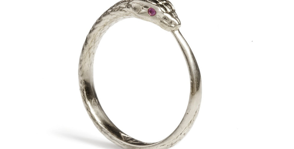 Rachel Entwistle silver snake ring with rubies