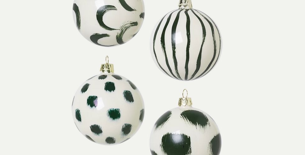 Ferm Living Christmas Hand Painted Glass Ornaments - Green