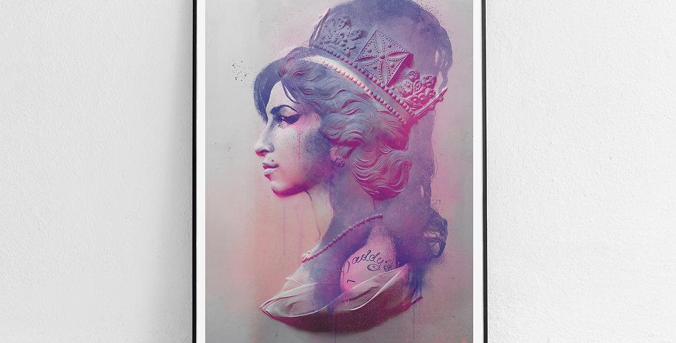 Tiny Riot Camden Queen Amy Pink Framed Print.