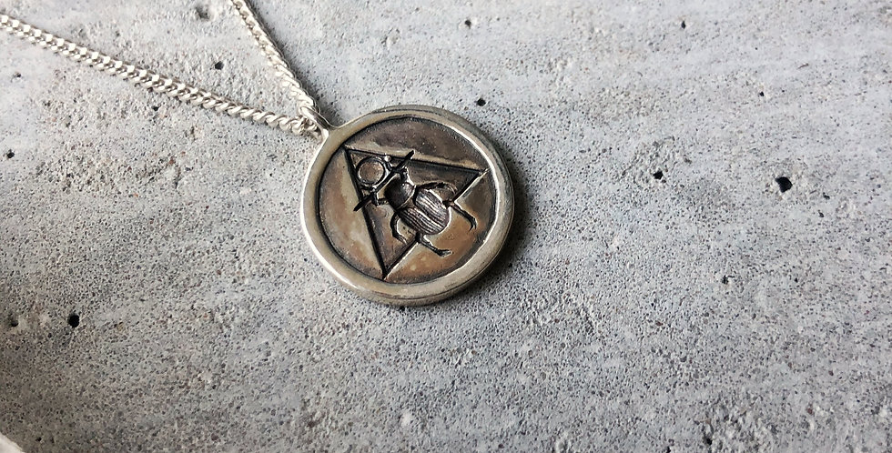 Rachel Entwistle large silver scarab pendant