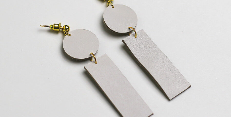 A Wethered Penny Pale Leather Earrings