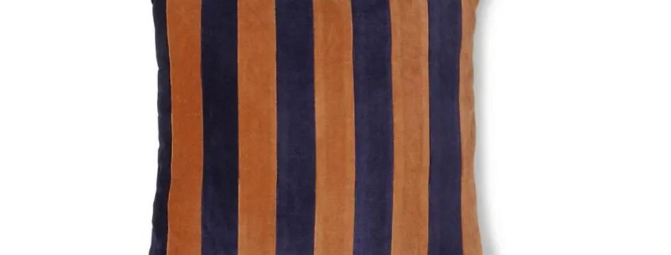 HK Living Blue & Orange Striped Velvet Cushion