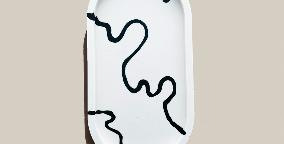 Ink Oval Tray -  White