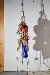 Meta-waste  2021 Plastic, foam, salt, earthenware clay, pool tiles, jewellery, cotton, wire, rope, acrylic, wool, wood, oil paint, spray paint, salt, cinnamon, resin, bronze, dried flowers, pearls.  Photography by Adam O'Sullivan NFS