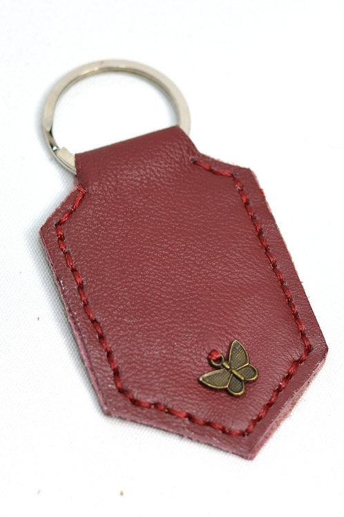Butterfly Handstitched Leather Keyring