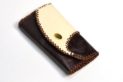 Handstitched Leather Key Holder Wallet/Key Case Chocolate