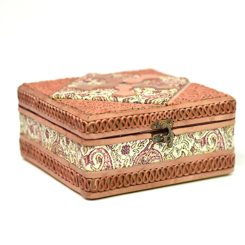 Handcrafted Leather/Cashmere jewellery/accessories Box