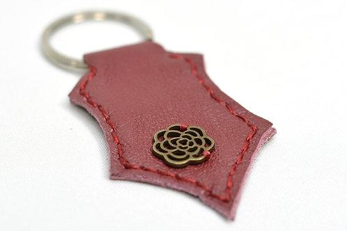 Flower Handstitched Leather Keyring