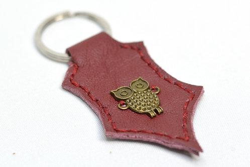 Owl Handstitched Leather Keyring