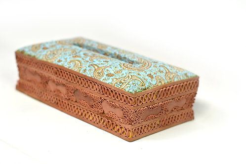 Handcrafted Leather/Cashmere tissue box Grean Gold
