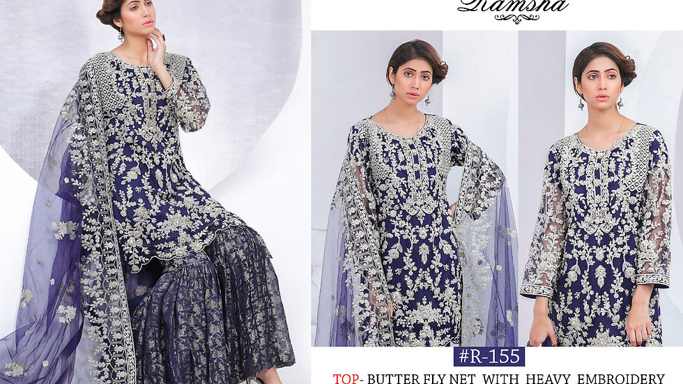 Net embroidered sharara suit