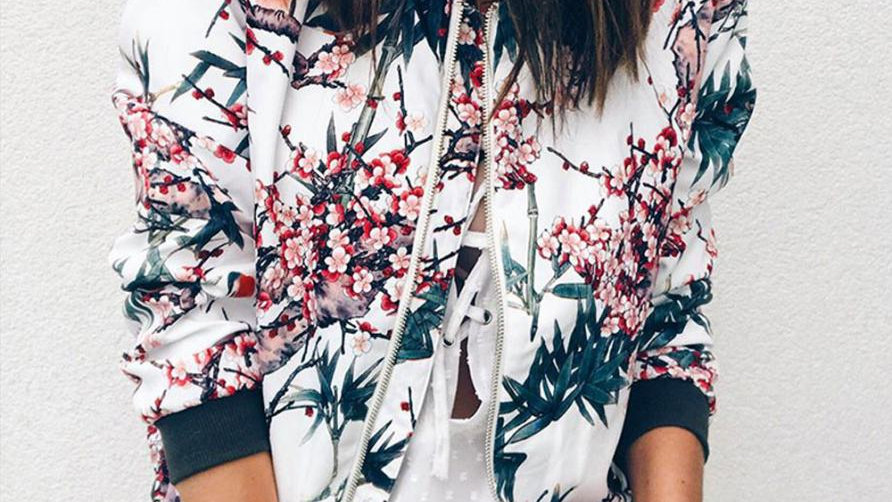 Womens Ladies Retro Floral Zipper Up Bomber Outwear