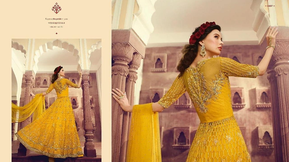 heavy net embroidered yellow Gown RC