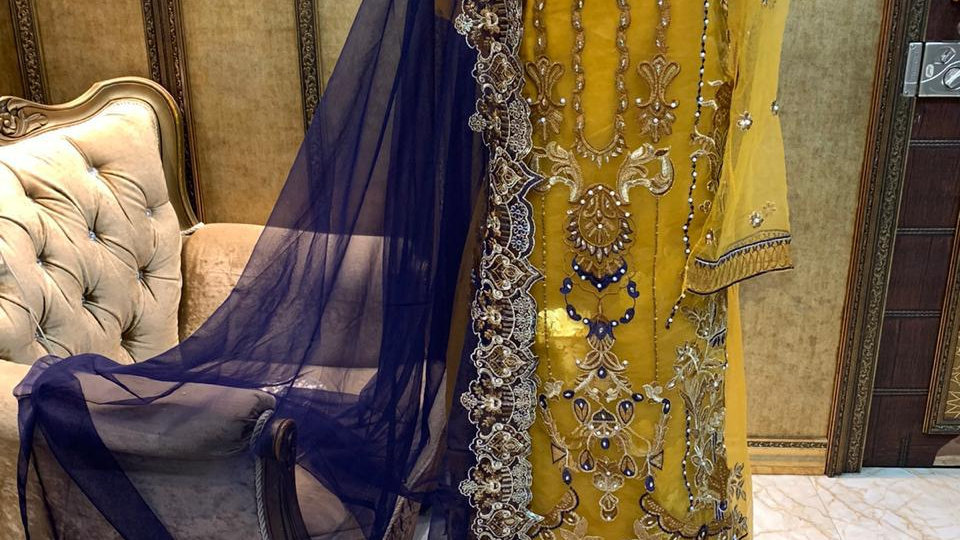Net embroidered  yellow sharara suit R