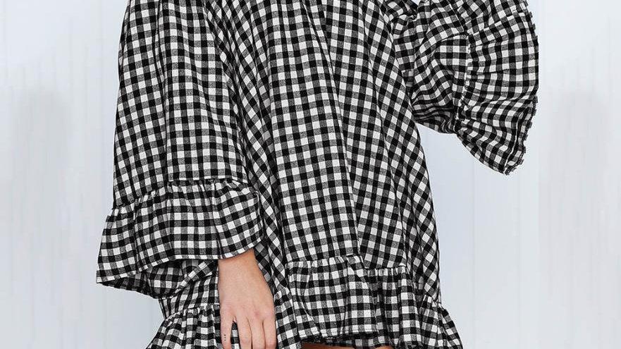Off Shoulder Long Sleeve Lattice Mini Dress