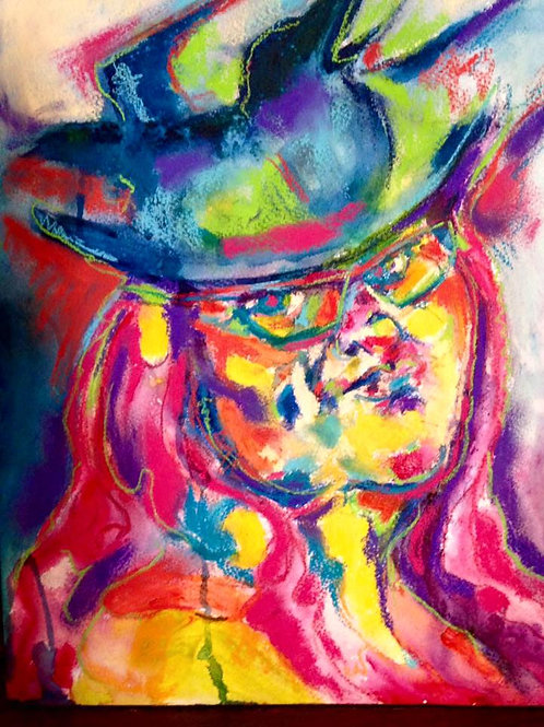 Morrigan with Hat - Oil & Pastel on Board