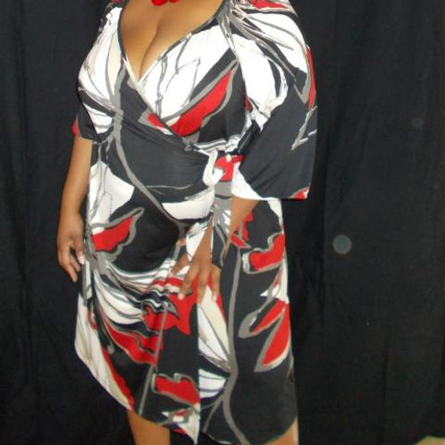 Black, Red & White Wrap Dress