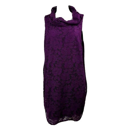 Purple Lace Sleeveless High Neck Shift Tunic Dress