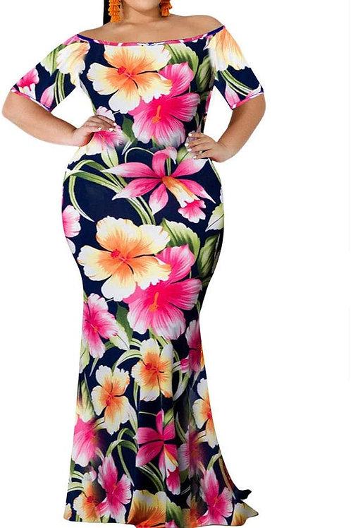 Floral Print Off Shoulder Bodycon Flowy Mermaid Dress