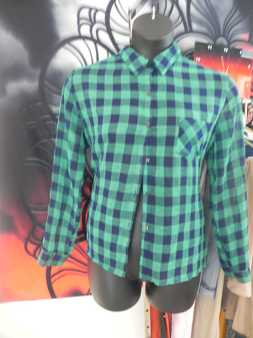 GREEN AND BLUE BUTTON UO BLOUSE
