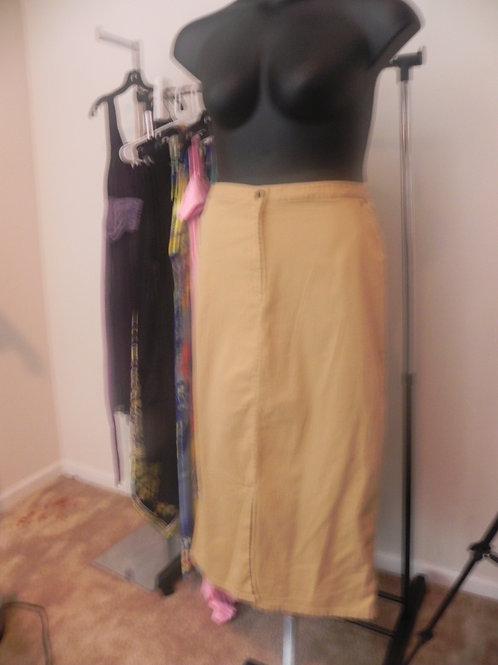 TAN JEAN SKIRT WITH FRONT SPLIT