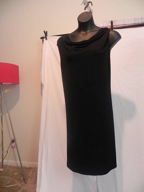 BLACK  COW NECK SLEEVELESS DRESS