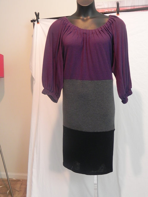 PURPLE GREY AND BLACK COLOR BLOCK  DRESS