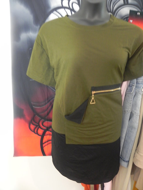OLIVE GREEN AND BLACK TOP